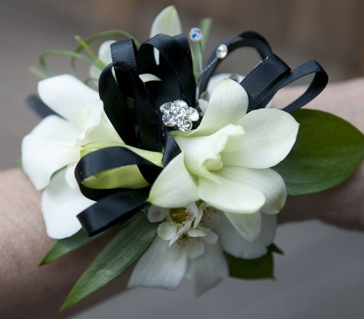 white and blue flower wrist corsage | black white orchid corsage white rose boutonniere white calla ...