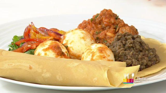 """- Plat / Viande -  Anne Alassane vous propose sa recette de """"Galettes éthiopiennes de veau et lentilles - injera"""" inspirée de la recette de Mélanie """"Tajine de veau aux pruneaux et amandes"""""""