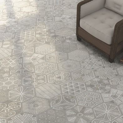 Revolt against neutral! The Revolution #tile series from @vivesceramica does just that with its large format #hexagon shape and light complementary #patchwork #pattern.  #azulejos #bathroom #design #decor #decoração #decoracion #casa #floortiles #dsfloors #geometric #homedecor #home  #homeinspo #instahome #instastyle #kitchen #Spanishtile #Spanishstyle #tiles #tilelove #tiledesign #tileometry by tileometry