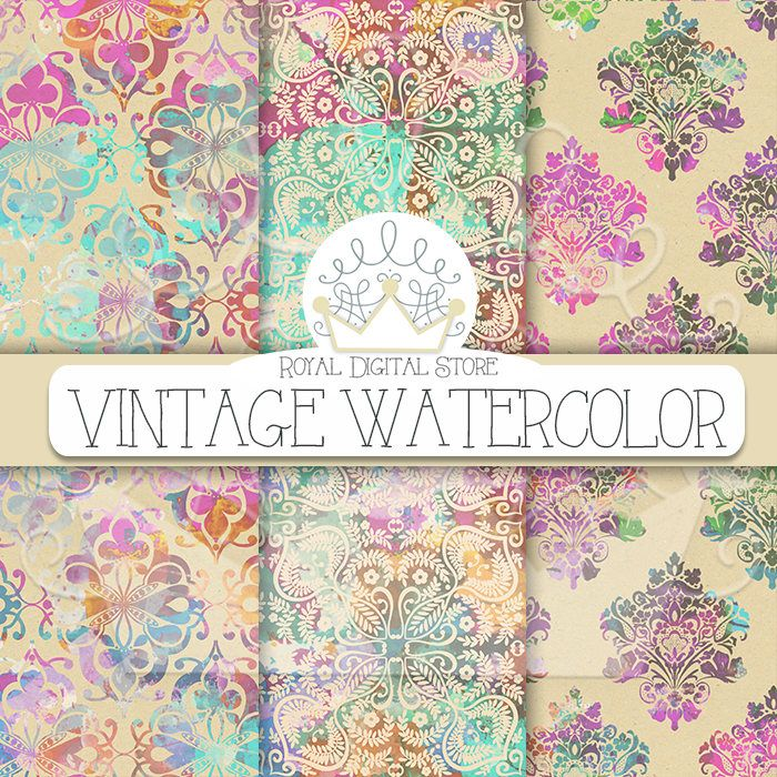 "Watercolor Digital Paper: ""VINTAGE WATERCOLOR"" with watercolor damask patterns, vintage background, watercolor scrapbook for invites #watercolor #damask #digitalpaper #scrapbookpaper #shabbychic #pink #mint #planner #partysupplies #romantic #wedding"
