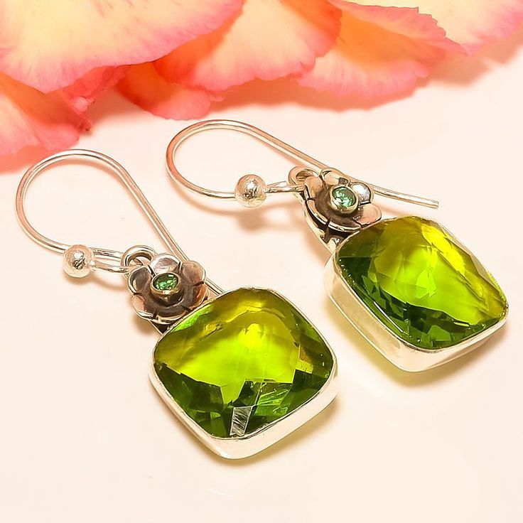 "Peridot, Chrome Diopside 925 Sterling Silver Jewelry Earring 1.58"" #Handmade #DropDangle"