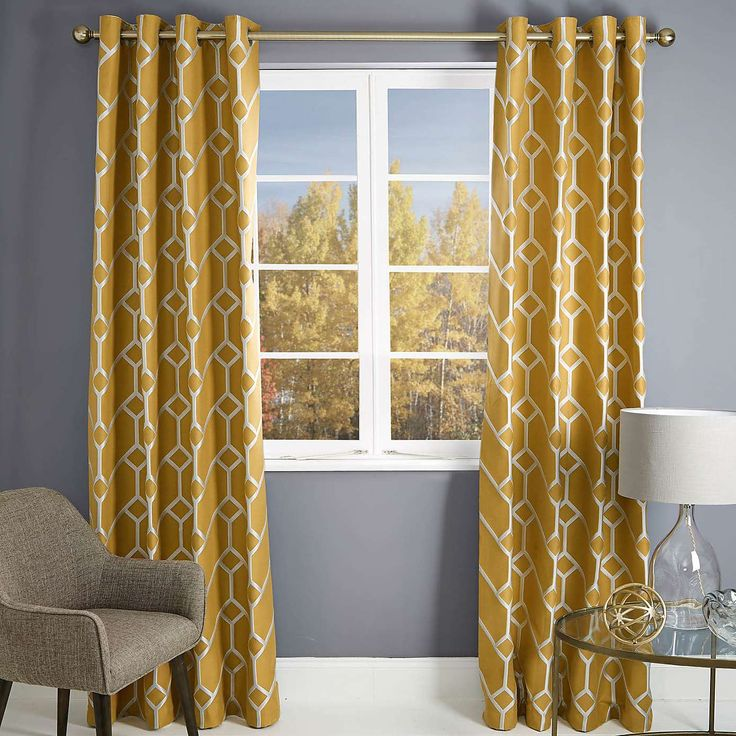 Seville Yellow Lined Eyelet Curtains | Dunelm