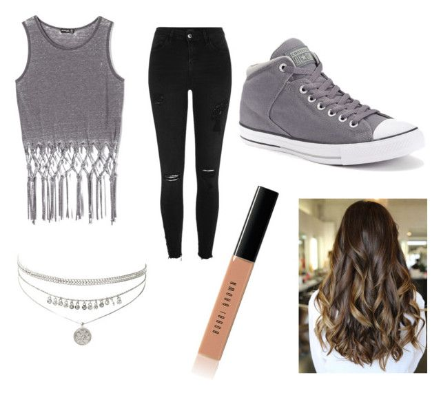 """""""Teenage girl outfit"""" by ariel-young on Polyvore featuring Popular Basics, River Island, Converse and Bobbi Brown Cosmetics"""