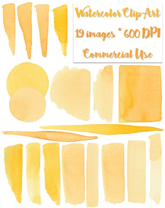 Watercolor Clipart Yellow Orange Brushstrokes by LostCoastElements