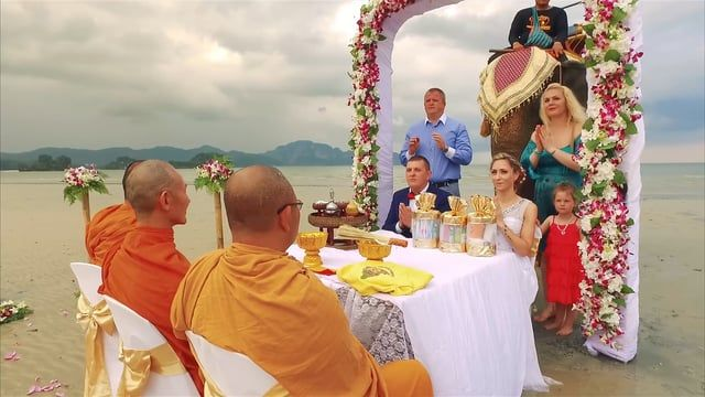 Krabi Beach Elephant Wedding + Buddhist Blessing Package : Ieva + Remigijus on December 29, 2016 | Thailand Marriage Planner and Organizer