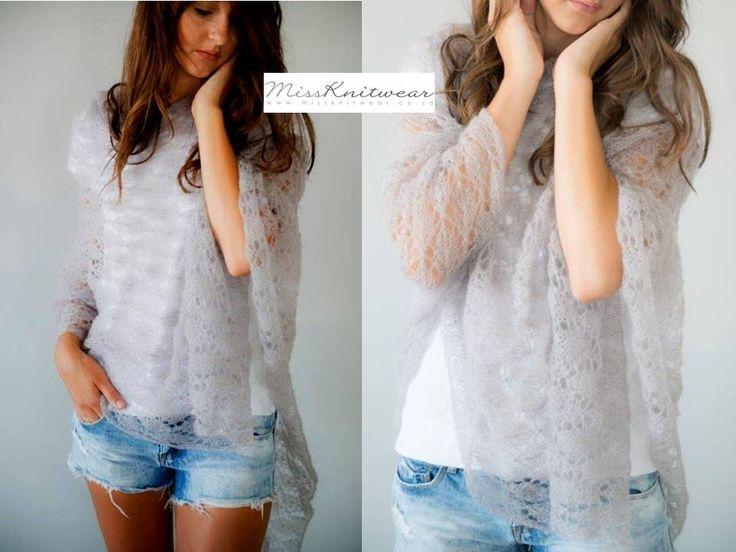 #mohair #lace #feminine Miss Knitwear lace poncho #grey #cruise #leisure #fashion #sunset