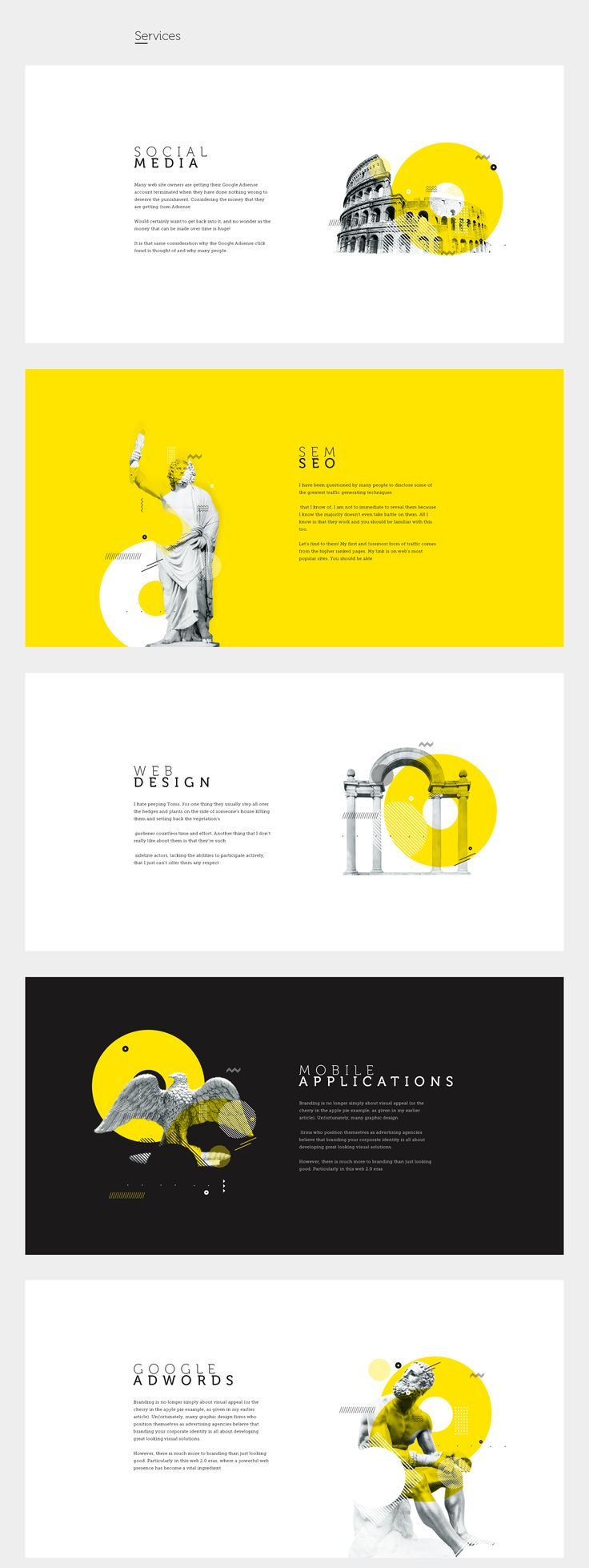 Dottopia web design for graphics services. Yellow website
