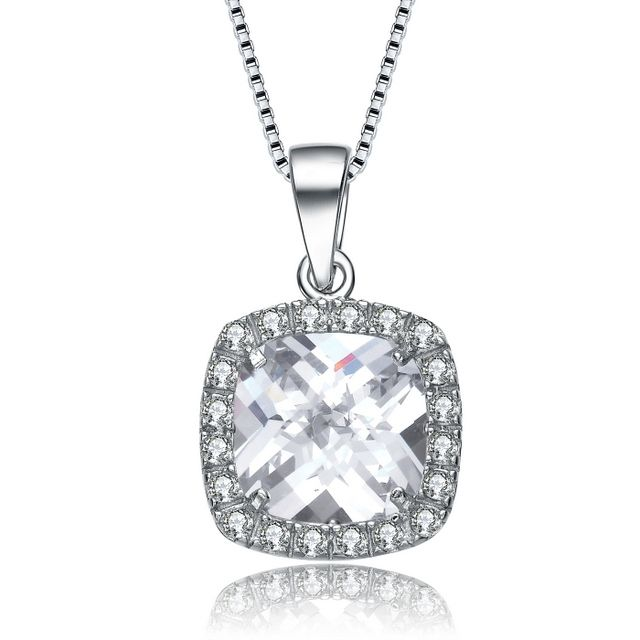 Sterling Silver Cushion Cut Cubic Zirconia Necklace