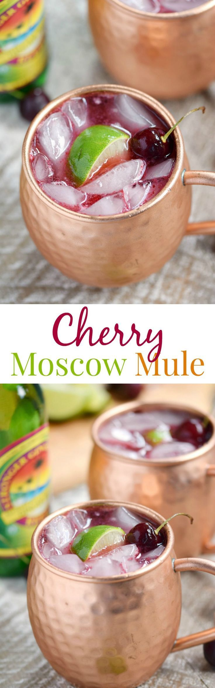 This Cherry Moscow Mule is a fruity, summer twist on a classic cocktail made with fresh cherries, vodka, ginger beer, liqueur and lime | cookingwithcurls.com