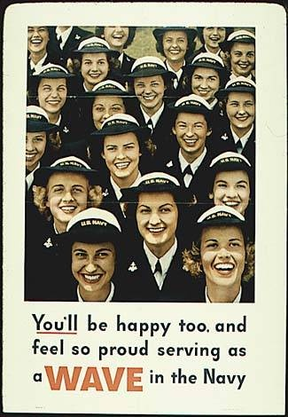 This World War II poster asking women to enlist is a form of propaganda because its statement about being happy and proud after serving in the Navy can be questioned. Is everyone really happy? Also, using a picture of women smiling hides the gruesome casualties of war.