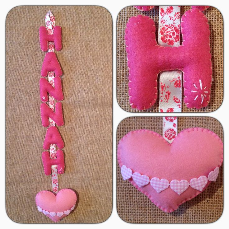Hanging felt name with hearts.