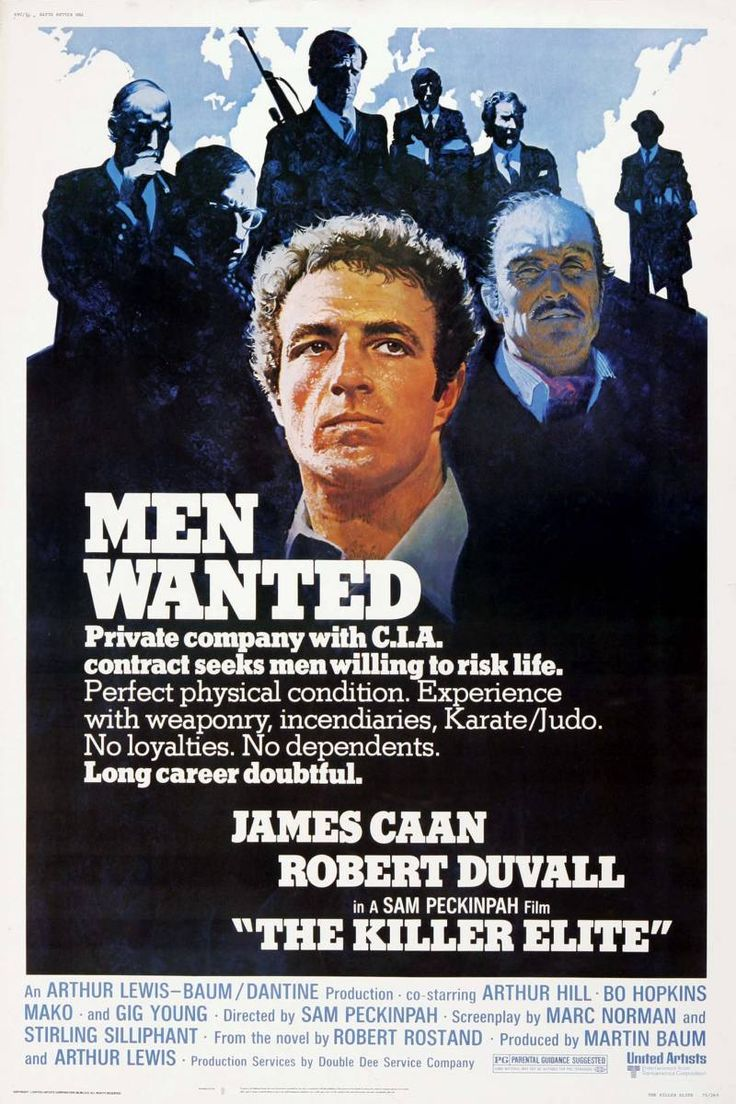 """The Killer Elite"" (1975). Country: United States. Director: Sam Peckinpah. Cast: James Caan, Robert Duvall, Arthur Hill, Bo Hopkins, Mako, Burt Young"
