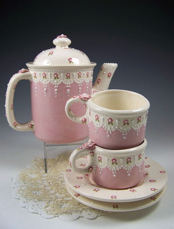 Dainty Pink Tea Set by RomancingTheTeapot on Etsy, $59.95: Tea Party, Tea Time, Dainty Pink, Tea Sets, Tea Cups, Tea Pots, Pink Tea, Teacups