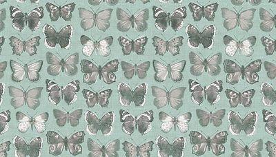 Fat Quarter Vintage Butterflies Duck Egg Blue Cotton Quilting Fabric - Makower