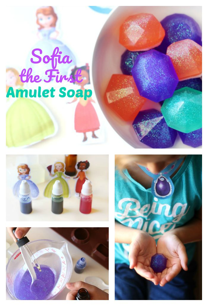 Check out these sparkly, sweet smelling soaps inspired by Sofia the First and friends! These melt and pour glycerin soaps are simple enough for children to help make, and are perfect for washing hands! Be sure to watch Disney Junior and the Disney Channel on FRiYAY mornings for new episodes featuring your favorite Disney Junior Friends.  AD http://gluesticksblog.com/2017/07/sofia-the-first-amulet-soap.html