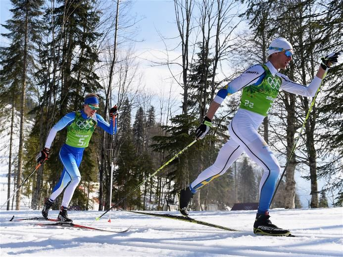 Sochi 2014 Day 10 - Cross Country Men's Relay 4x10 km Daniel Richardsson (R) of Sweden, Iivo Niskanen (C) of Finland and Maurice Manificat (L) of France compete on the second leg of the Cross Country Men's 4 x 10 km Relay