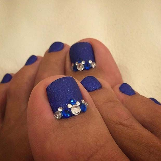 Matte Navy Blue Toe Nail Design with Rhinestones