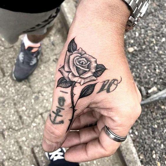 Tiny Small Rose hand Tattoo Ideas; flower tattoos; rose tattoos; beautiful tatto…