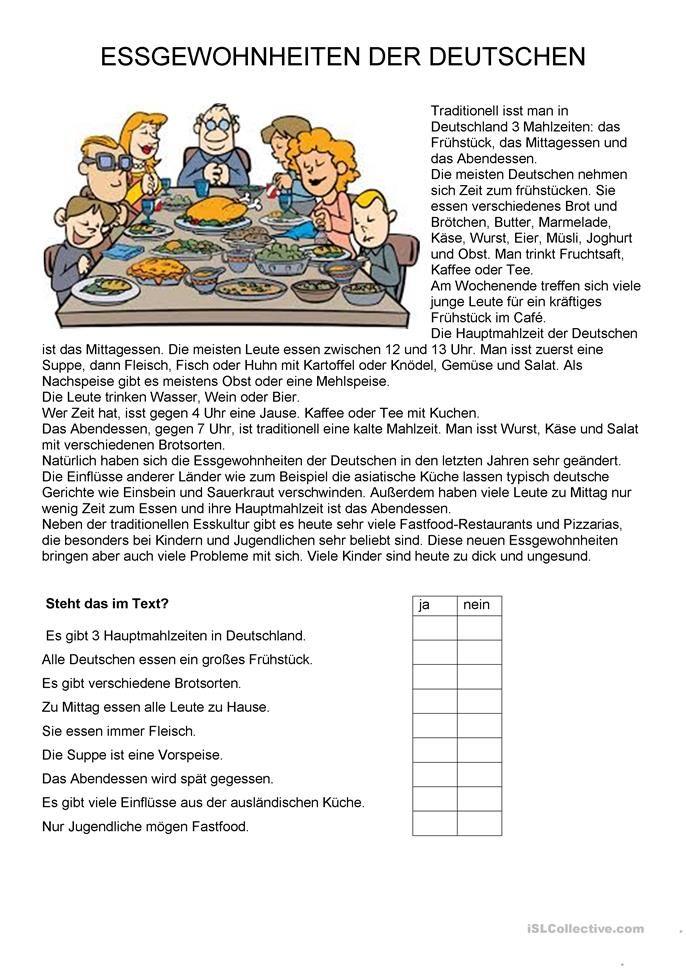 Texte Essen Essgewohnnheiten Der Deutschen German Language Learning German Grammar German Language