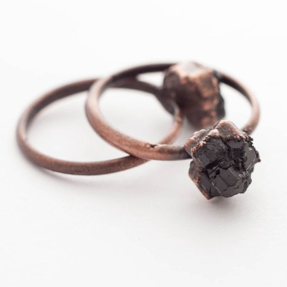 Raw Garnet Ring  Uncut Natural Garnet Ring  by thesixofcups