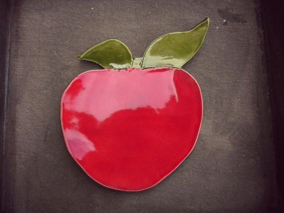 Ceramic Apple Dish Red Fruit Plate Spoon Rest  Kitchen