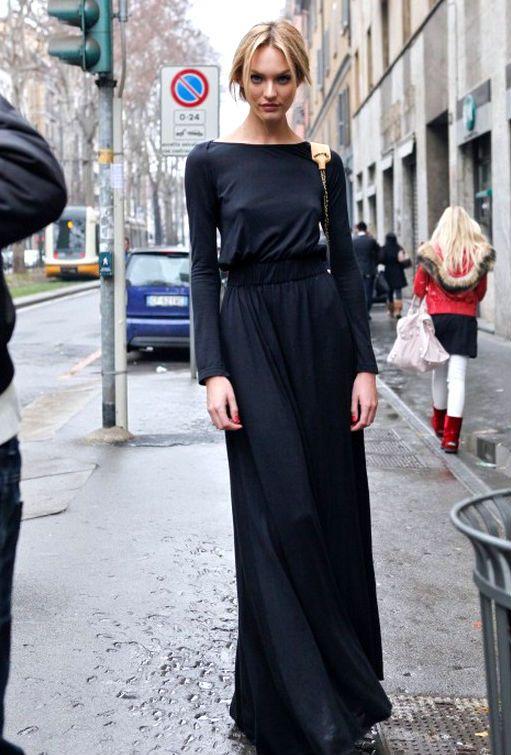 //: Maxi Dresses, Fashion, Candice Swanepoel, Street Style, Maxis, Black Maxi, Candiceswanepoel, Black Dress