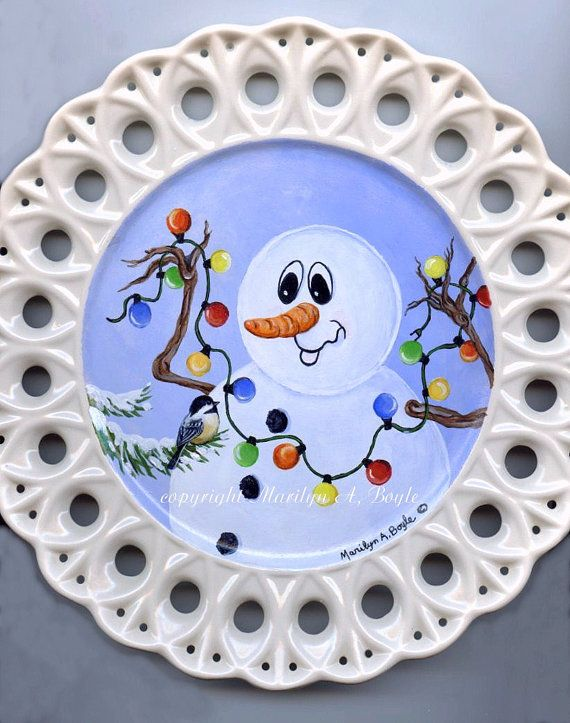 ORIGINAL HAND PAINTED Ceramic Snowman Plate by OriginalSandMore $65.00 & Best 56 Hand painted plates ideas on Pinterest | China painting ...