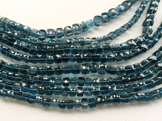 London Blue Topaz Faceted Cube Beads Natural by gemsforjewels