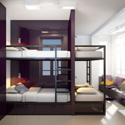 Esprit moderne : en noir et bois. Dorm in dark wood