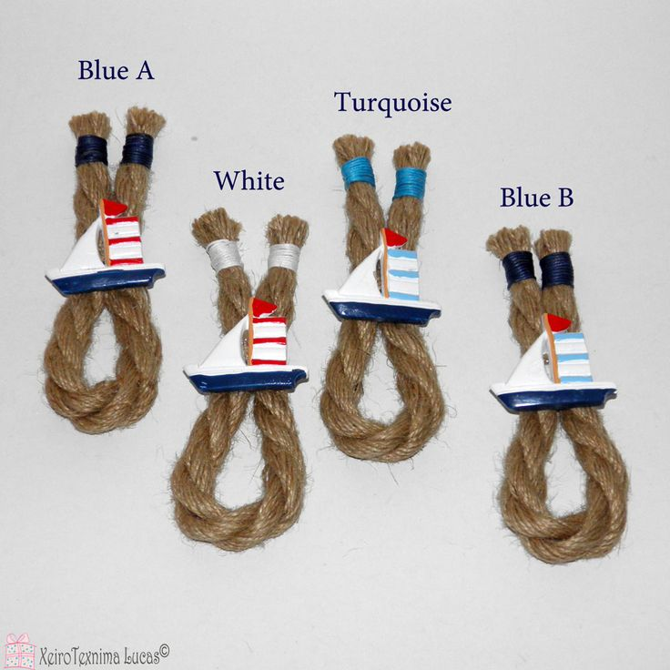 Καλοκαιρινή διακόσμηση με κορδόνι από γιούτα και κεραμικά καραβάκια. Summer decoration with jute rope and ceramic boats