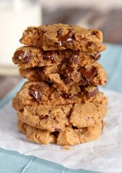 OBB Gluten/Dairy free peanut butter chocolate chip cookies- when using smallest Pampered Chef scoop bake cookies for 7 minutes