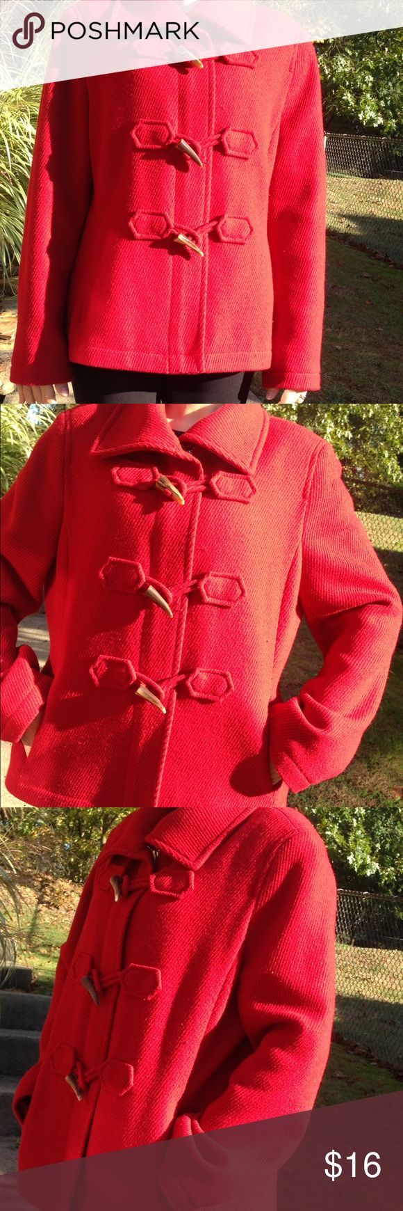 Ann Taylor red Pea Coat Size xl red pea coat by Ann Taylor, zippers up middle, accent toggles, pocket on each side, a deeper red shade, overall ok , good condition, some signs of wear, made with a wool blend, so some natural snags occur thru out coat. No visible stains, no tears, zipper works Ann Taylor Jackets & Coats Pea Coats