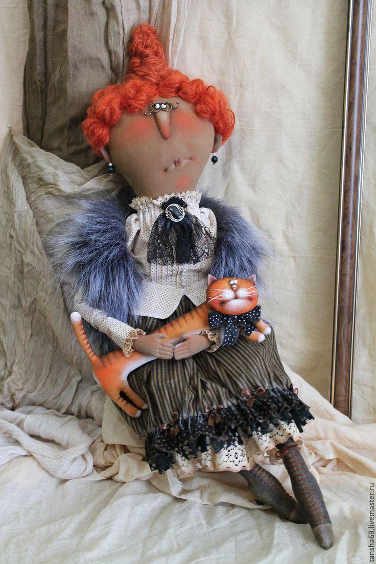 Купить Мадам!(с котом конечно-же!) - комбинированный, текстильная кукла, ароматизированная кукла, интерьерная кукла