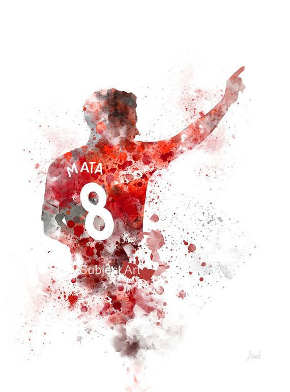 Juan Mata ART PRINT illustration Manchester United Football