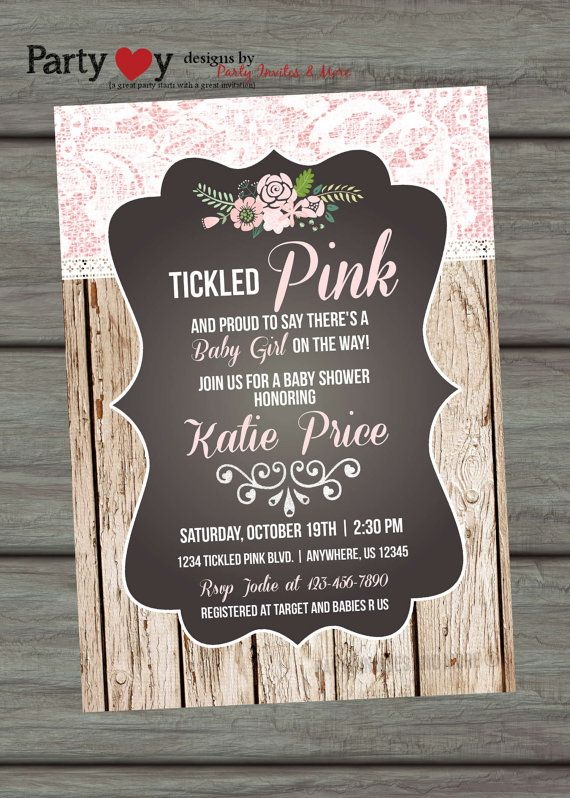 tickled pink baby shower invitation rustic baby shower invitation lace baby shower invitation wood and lace lace invitation