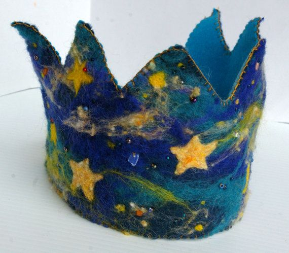 Galaxy Birthday Crown: Custom Made Waldorf Style Wool Crown (Galaxy Design). $52.00, via Etsy.