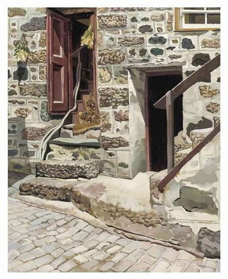 Artwork by Stanley Spencer, Cottage, St Ives, Made of oil on canvas