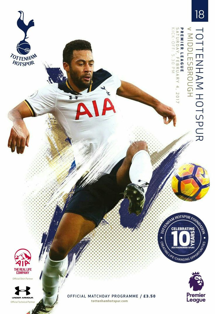 Spurs programme v Middlesbrough. 4/2/17