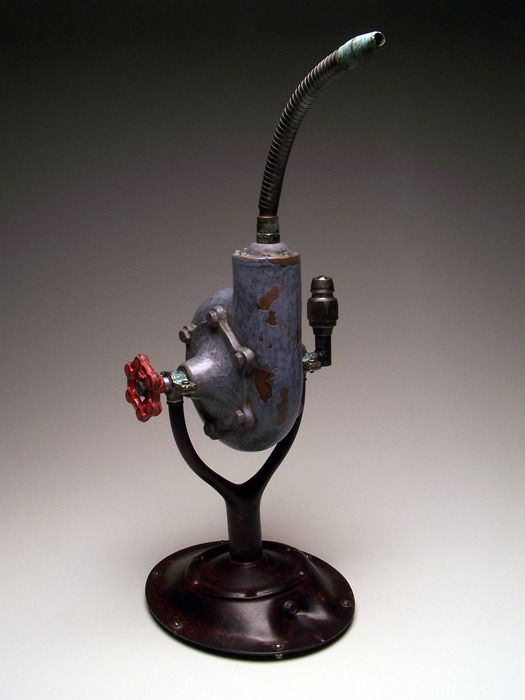 "RobertAdams Industrial Teapot #127, 2013 21"" x 9"" x 9"" Ceramic, aluminum, brass, steel"