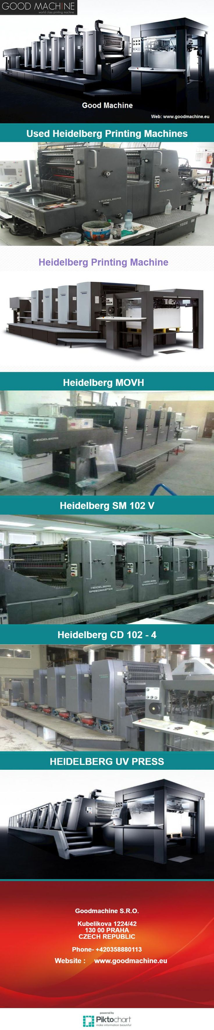 Those on the lookout to buy Used Heidelberg 72 v or any other branded printing press may get in touch with Goodmachine, a reliable Used Heidelberg Printing Machines Dealer.