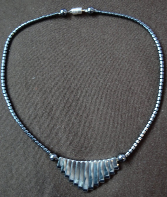 Hematite Bib Necklace by ByYoursTrulee on Etsy, $12.50