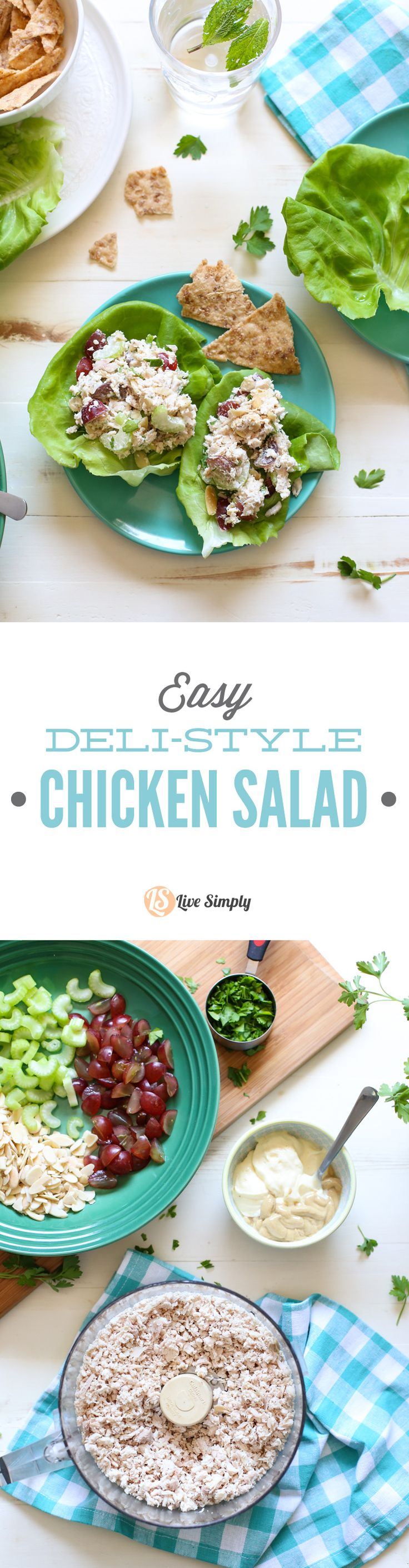 Super easy deli-style chicken salad! This recipe only requires 5 minutes of hands-on time. 100% healthy real food ingredients. http://livesimply.me/2015/05/27/easy-deli-style-chicken-salad/