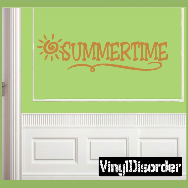Summertime Summer Holiday Vinyl Wall Decal Mural Quotes Words - Wall decals beach quotes