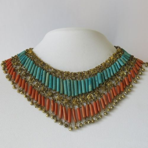 Vtg art deco egyptian revival coral turquoise faience for Faience turquoise