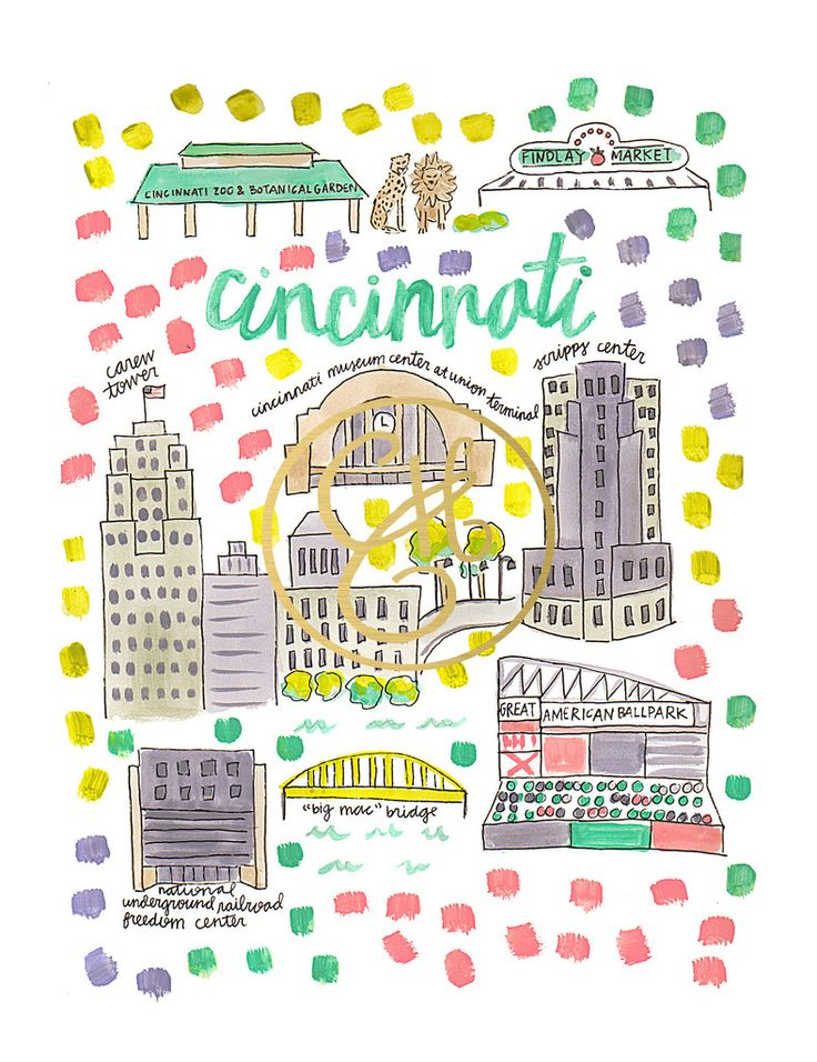 Cincinnati Map Print by Evelyn Henson