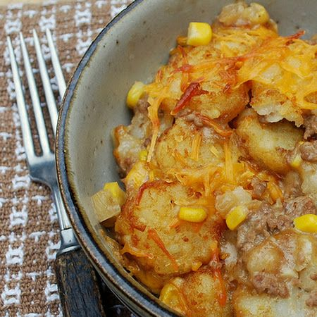 Cowboy Casserole -this is so good.  Let's face it, it looks like dog food, but tastes wonderful.  This just made it to my quick go-to meal list.  Only used a lb of hamburger because that's what I had - turned out great.