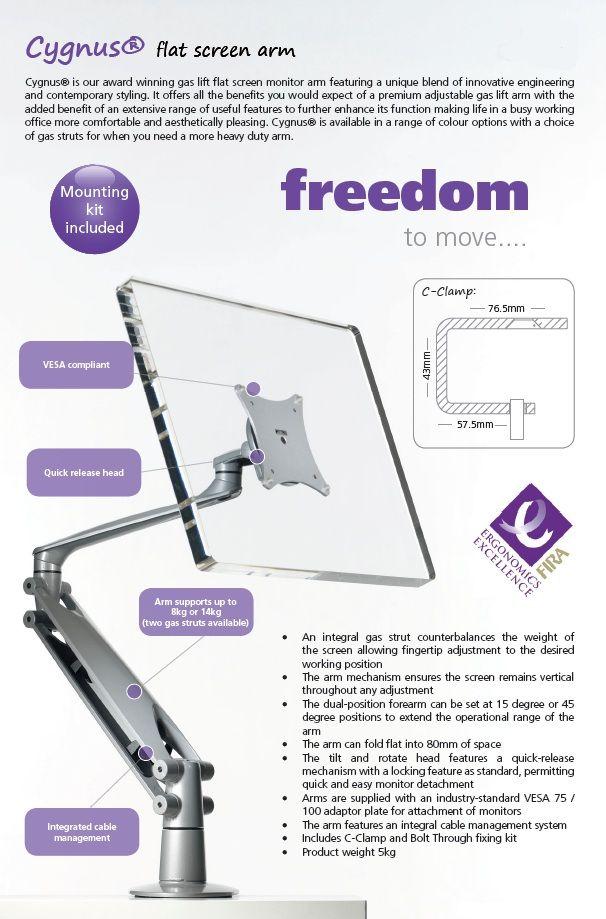 Ergonomic Lifting Arms : Cygnus monitor arm product page http genesys uk