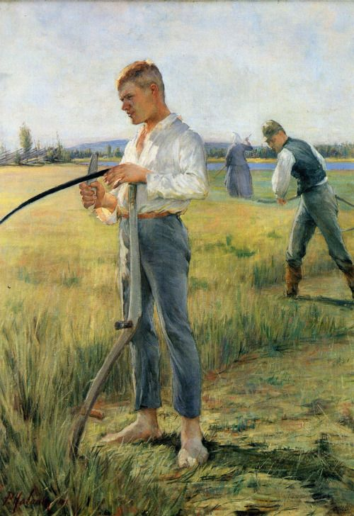 """ Pekka Halonen - Mowers men, 1891 "" Pekka Halonen (23 September 1865 – 1 December 1933) was a painter of Finnish landscapes and people in the national romantic style."