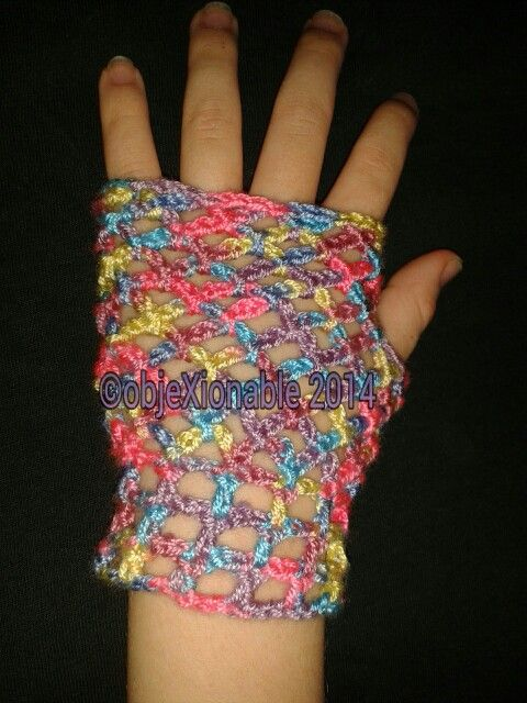 Rainbow lace/mesh effect crochet fingerless mittens/wristies