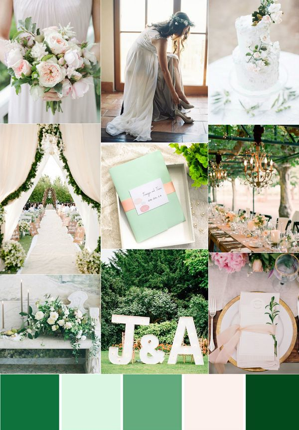 green and blush wedding color ideas